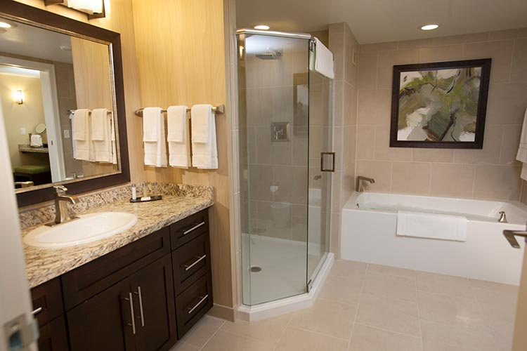 guest suite bathroom with separate walk in shower and bath tub, The Berkley, Las Vegas