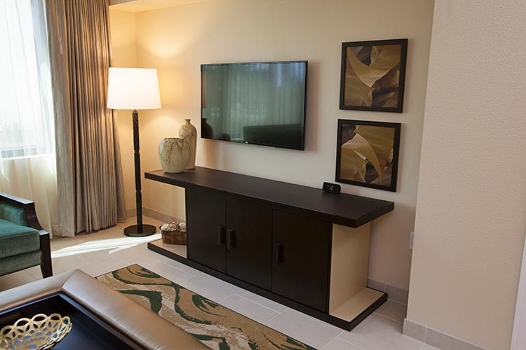 living room entertainment center with flat screen tv, The Berkley, Las Vegas