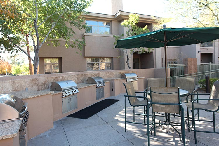 outside barbeque grills and sitting area, The Cliffs at Peace Canyon