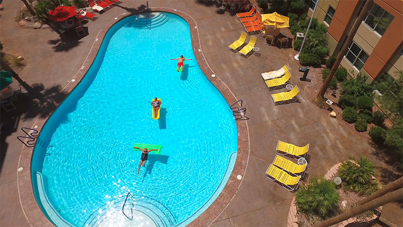 drone shot of one of the five heated swimming pools, The Grandview at Las Vegas