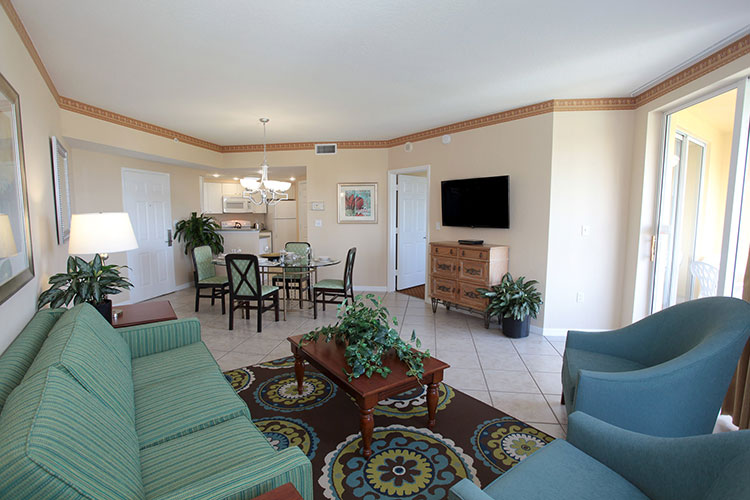 A Suite guest living room area, Vacation Village at Weston
