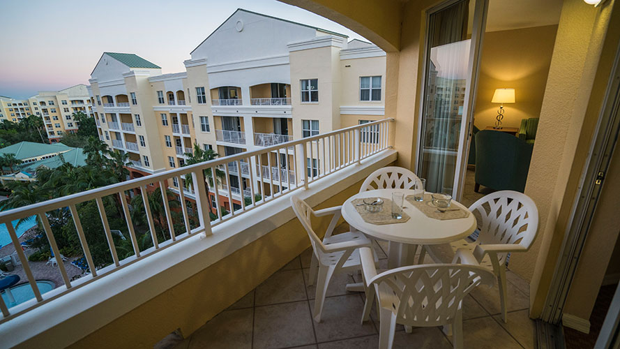 private outdoor balcony in A Suite, Vacation Village at Weston