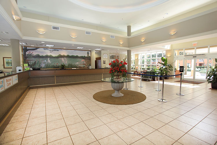 guest lobby area at the main registration building, Vacation Village at Weston