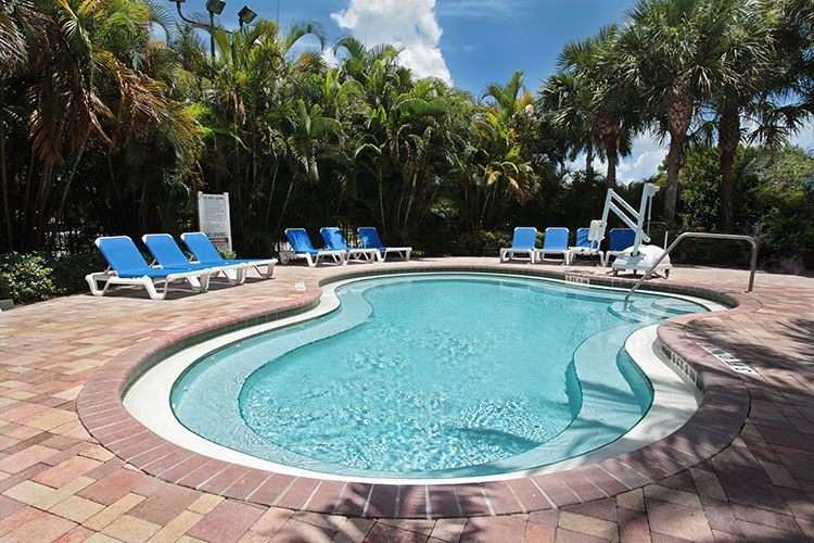 outdoor hot tub at the main pool area located behind the registration building, Vacation Village at Weston