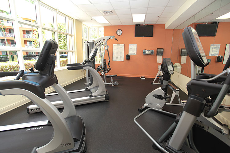 fitness center with cardio equipment at registration building, Vacation Village at Weston